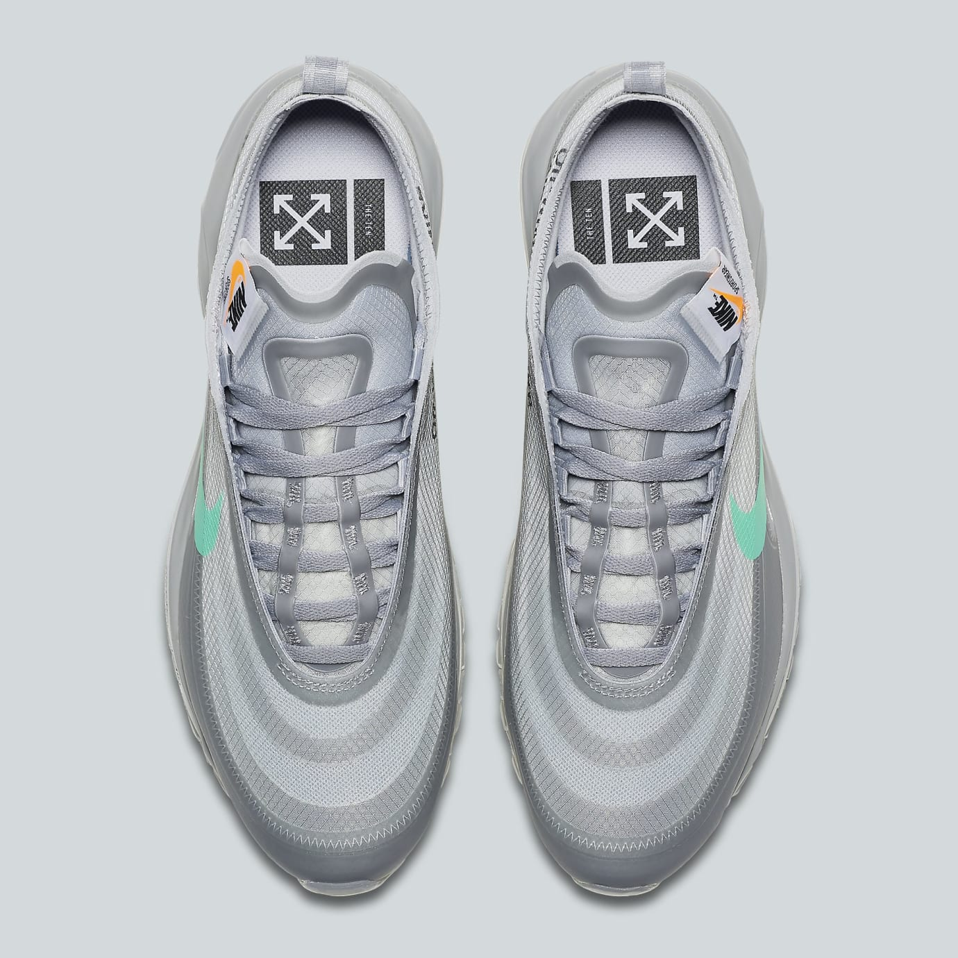 Image via Nike Off-White x Nike Air Max 97 Off-White Wolf Grey White Menta  Release 617a7d216
