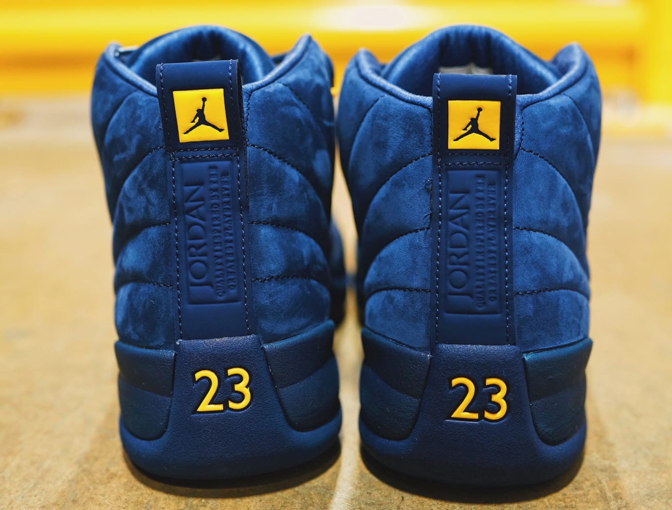 83d1107896f0 Michigan  Air Jordan 12 College Navy Amarillo BQ3180-407 Release ...
