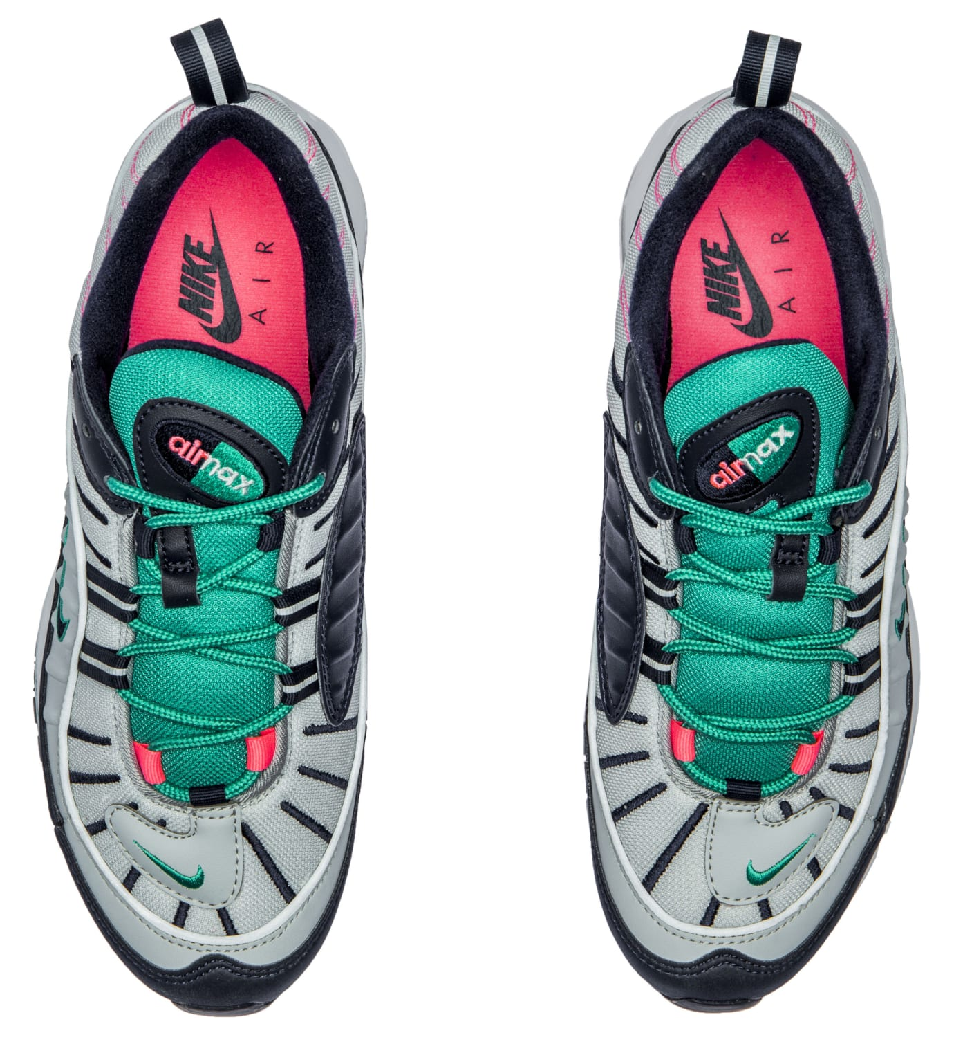 Nike Air Max 98 'Pure Platinum/Obsidian/Kinetic Green' 640744-005 (Top Pair)