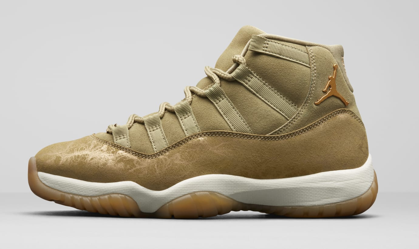 Air Jordan 11  Olive Lux  AR0715-200 (Lateral) Image via Nike cd1f7fe92a