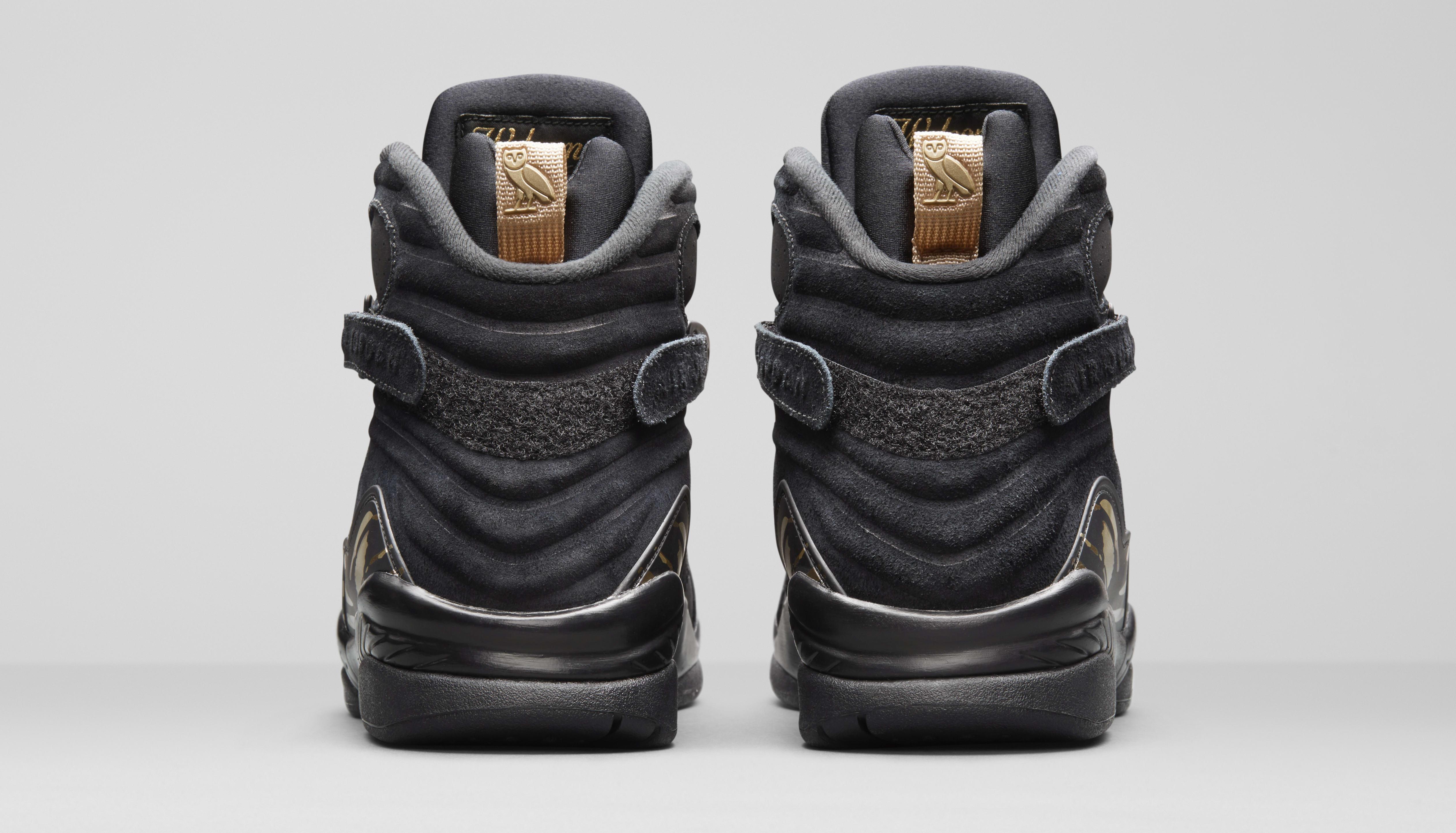 Air Jordan 8 'OVO' Black/Metallic Gold-Varsity Red-Blur AA1239-045 (Heel)