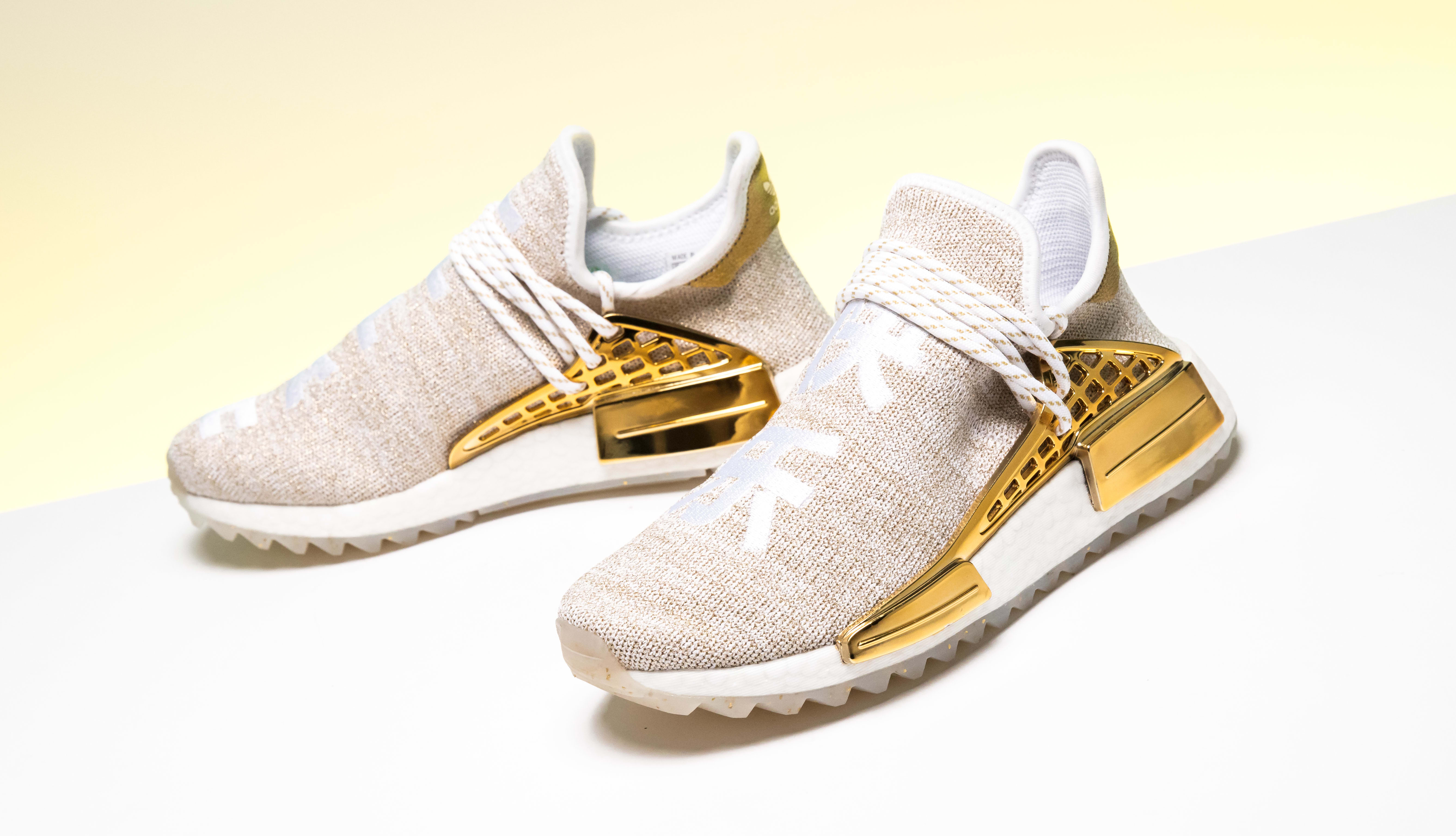 Pharrell Williams x Adidas NMD Hu China Exclusive 'Happy' Gold F99762 (Side Pair)