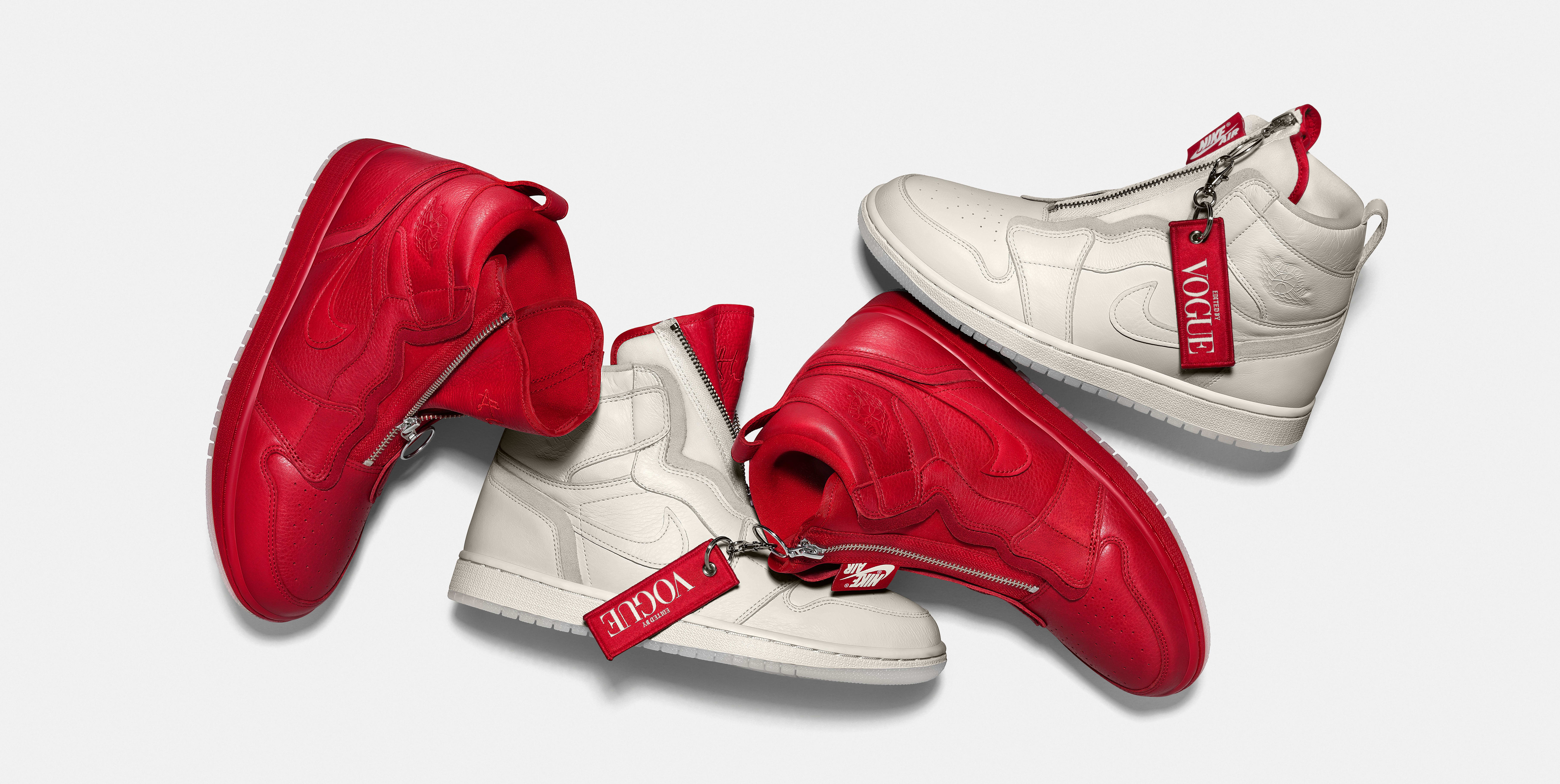 Vogue x Air Jordan 1 Zip AWOK 'Sail' and 'University Red'