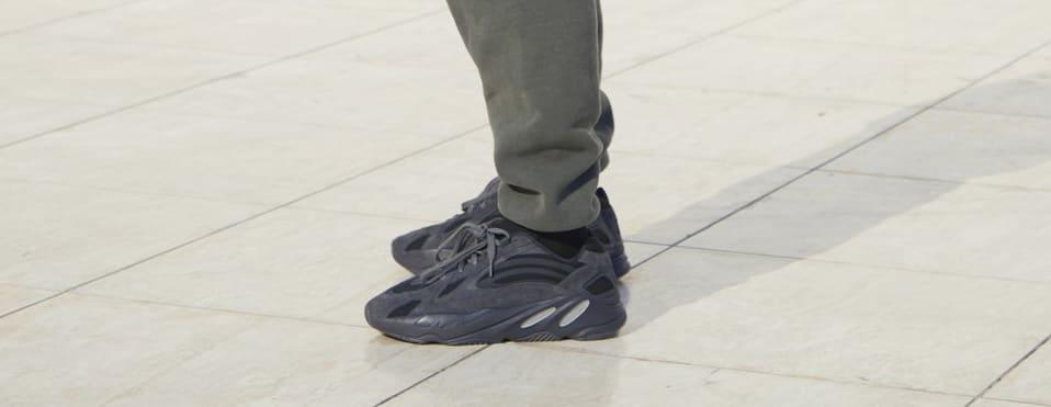 Adidas Yeezy Boost 700 'Black' (On-Foot Left)