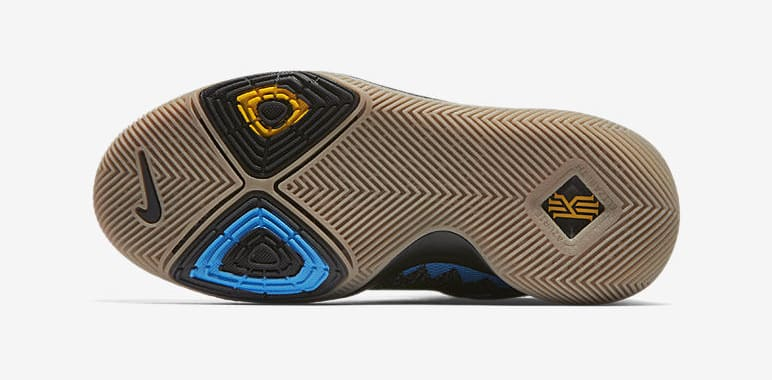 Kid's Nike Kyrie 3 'What The' University Gold/Blue Glow/Black AH2287-700 (Bottom)
