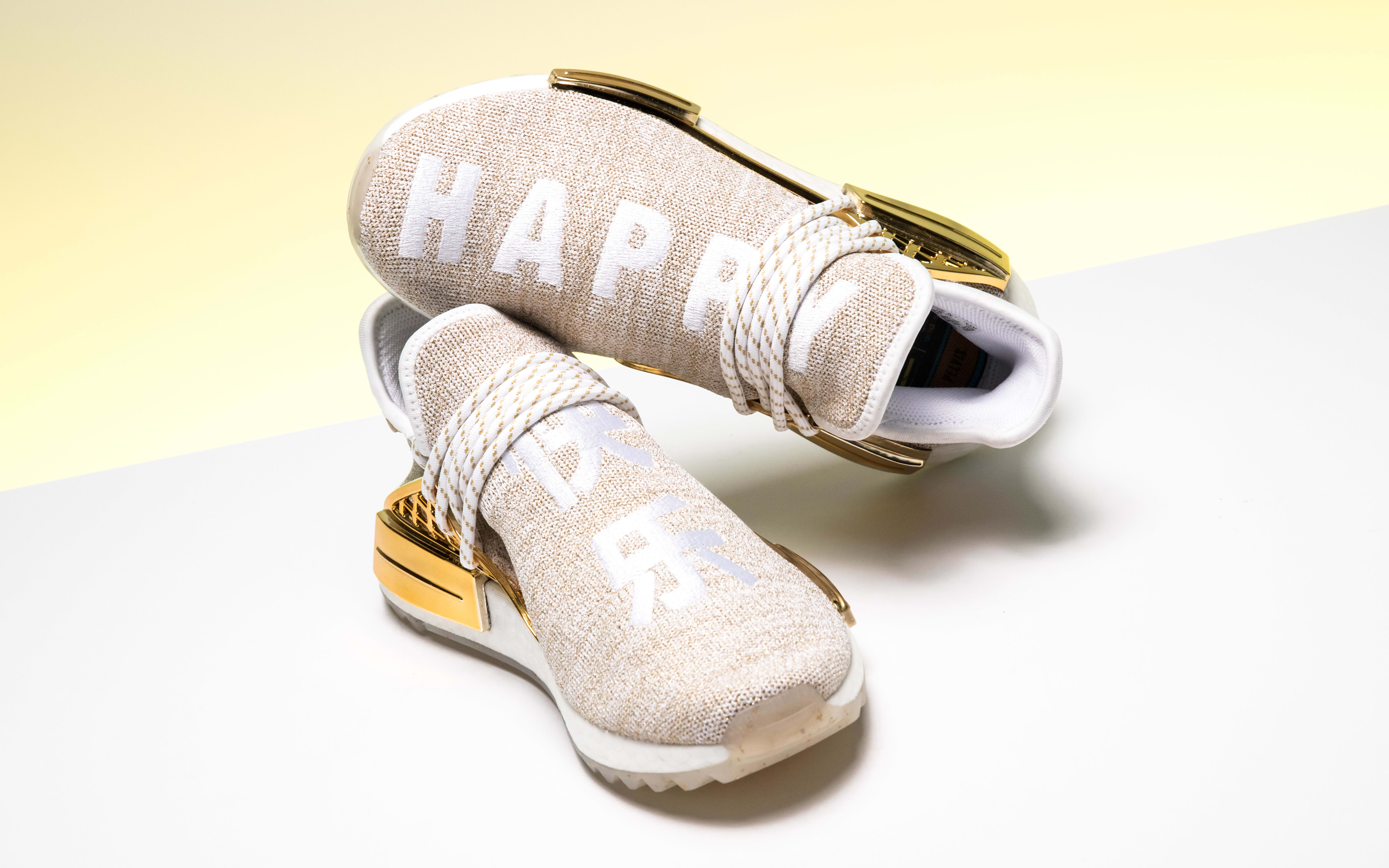 Pharrell Williams x Adidas NMD Hu China Exclusive 'Happy' Gold F99762 (Pair)