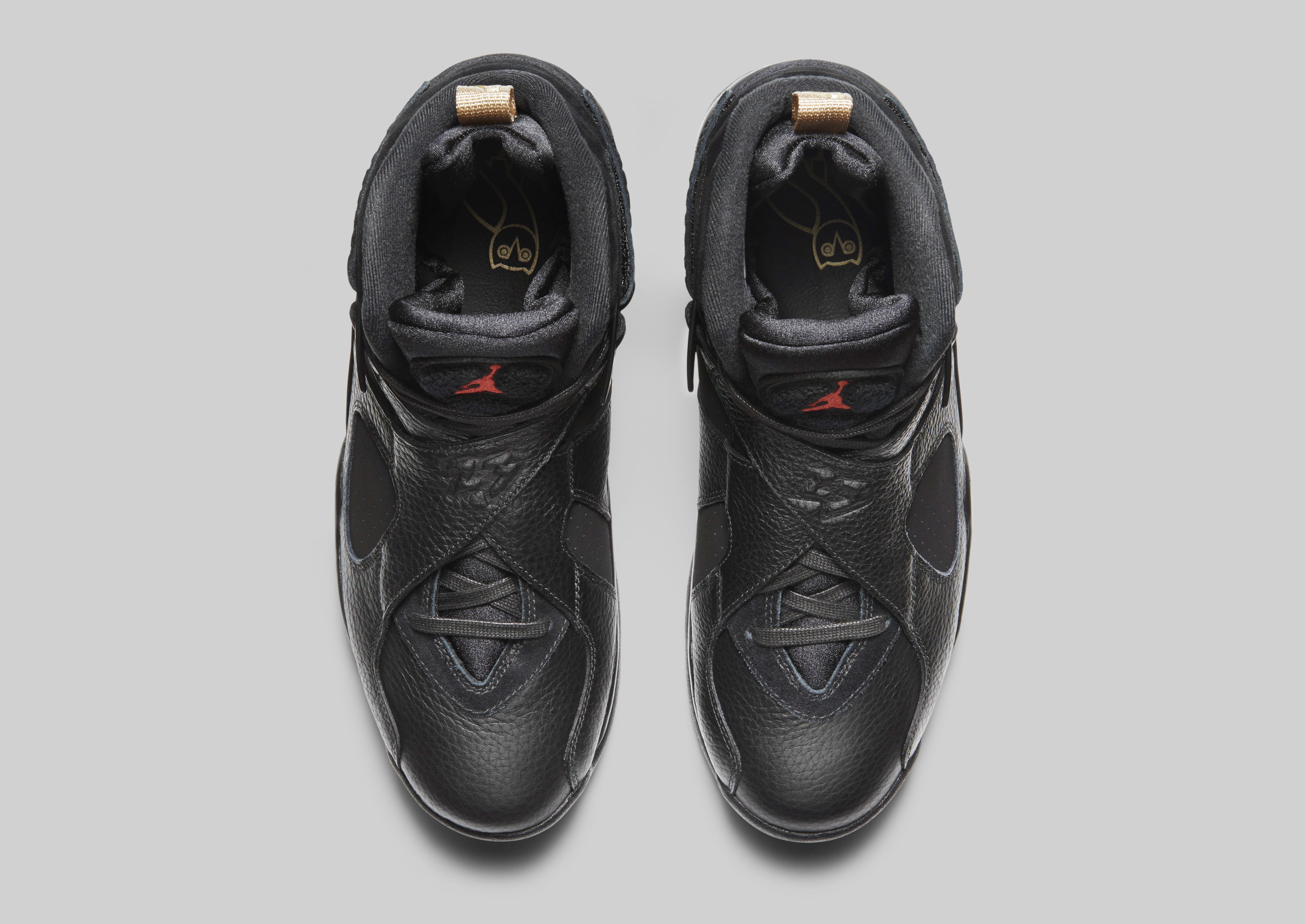 Air Jordan 8 'OVO' Black/Metallic Gold-Varsity Red-Blur AA1239-045 (Top)