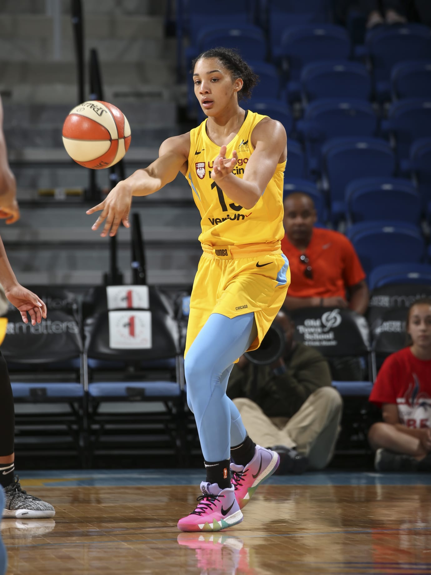Gabby Williams wears the Nike Kyrie 4 'Be True'