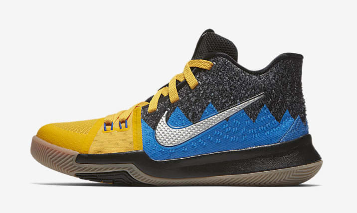 Kid's Nike Kyrie 3 'What The' University Gold/Blue Glow/Black AH2287-700 (Lateral)