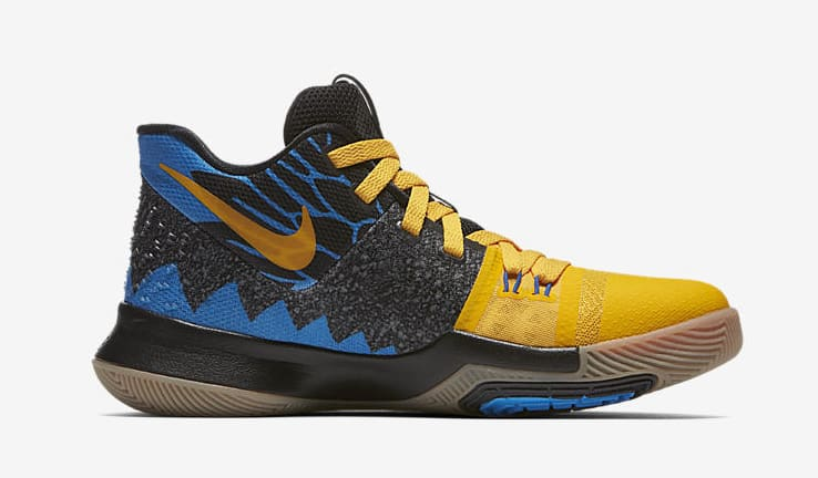 Kid's Nike Kyrie 3 'What The' University Gold/Blue Glow/Black AH2287-700 (Medial)