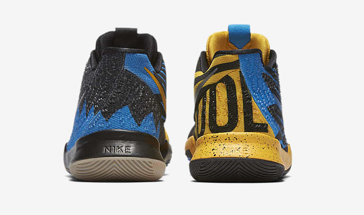 Kid's Nike Kyrie 3 'What The' University Gold/Blue Glow/Black AH2287-700 (Heel)