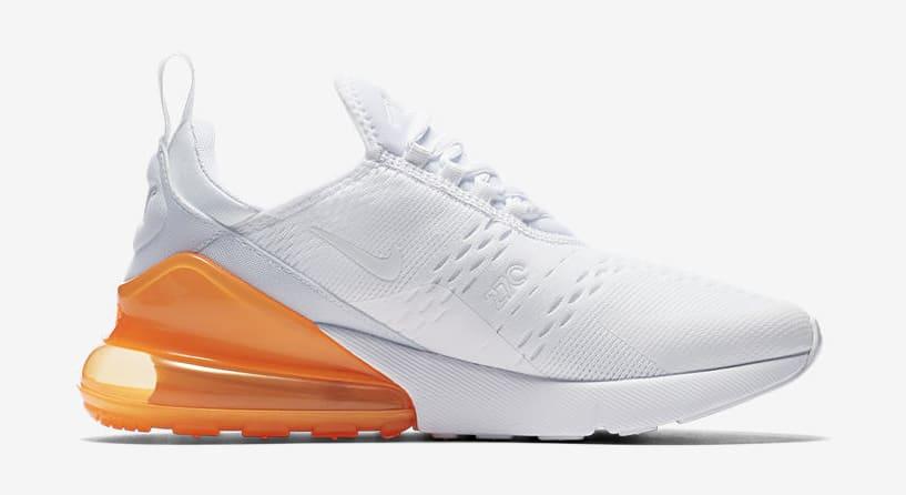 size 40 09312 fa49b Image via Nike Nike Air Max 270  White Pack Total Orange  AH8050-102 (Medial