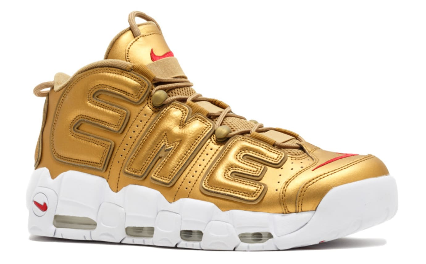 Supreme Nike Air More Uptempo Gold Release Date Front Angle 902290-700 47de4ae96