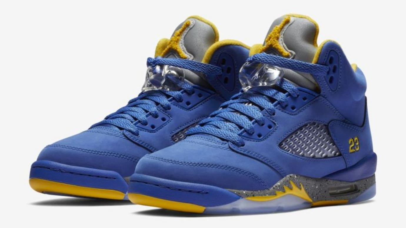release date 50d1c bafc0 air-jordan-5-retro-laney-gs-2019-pair