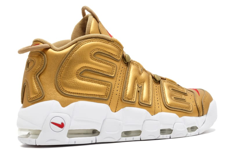 Supreme Nike Air More Uptempo Gold Release Date Heel Angle 902290-700