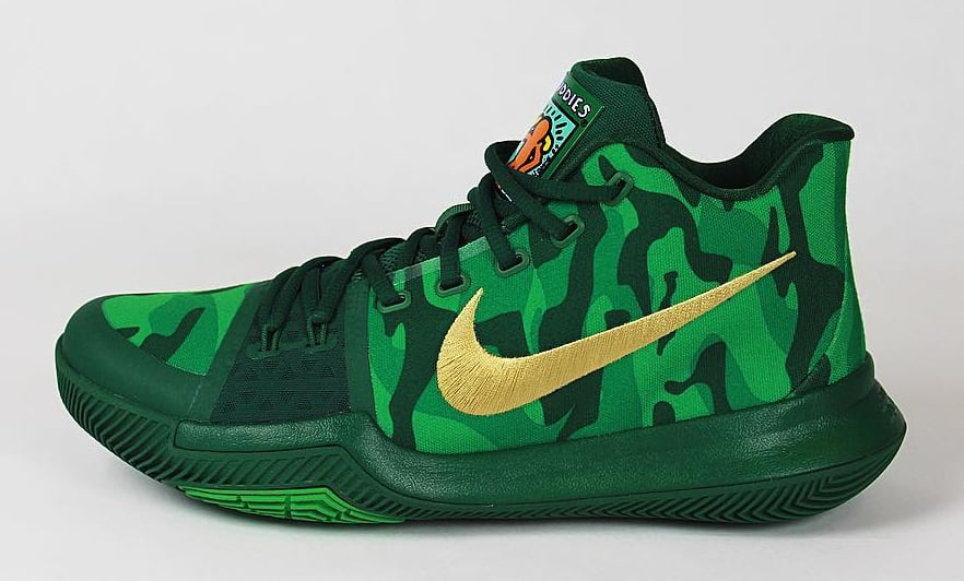 2941326f0c08 ... Kyrie Irving Nike Kyrie 3 Green Camo Best Buddies PE Profile ...