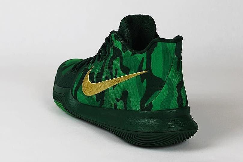 Kyrie Irving Nike Kyrie 3 Green Camo Best Buddies PE Heel