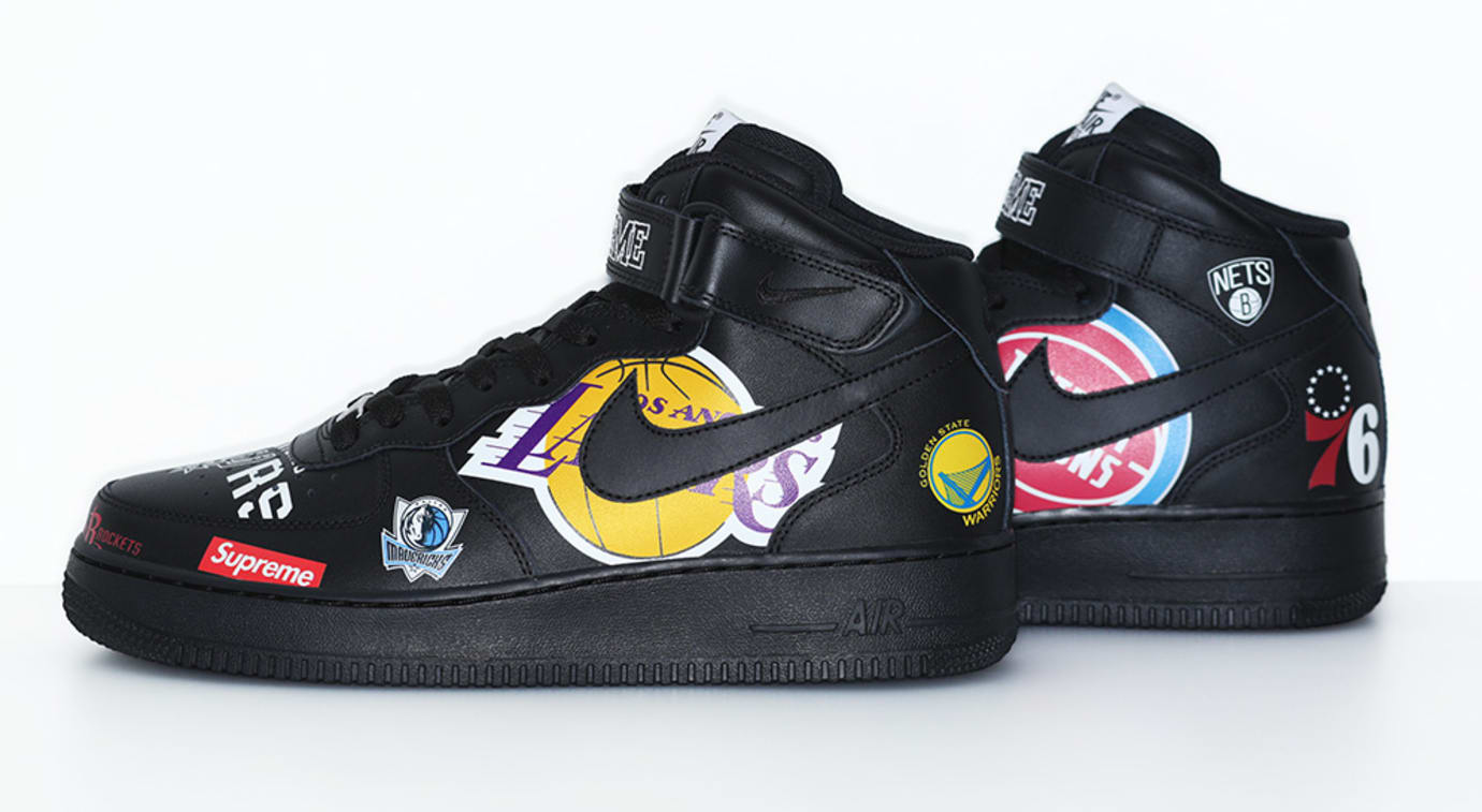 Supreme x Nike x NBA Air Force 1 Mid 'Black' AQ8017-001 (Side 2)