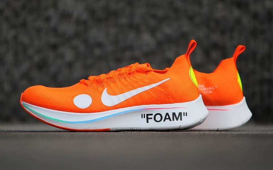 bd4f3bf80b18 Image via gc911 · Off-White x Nike Zoom Fly Mercurial Flyknit Total Orange  Release Date AO2115-800
