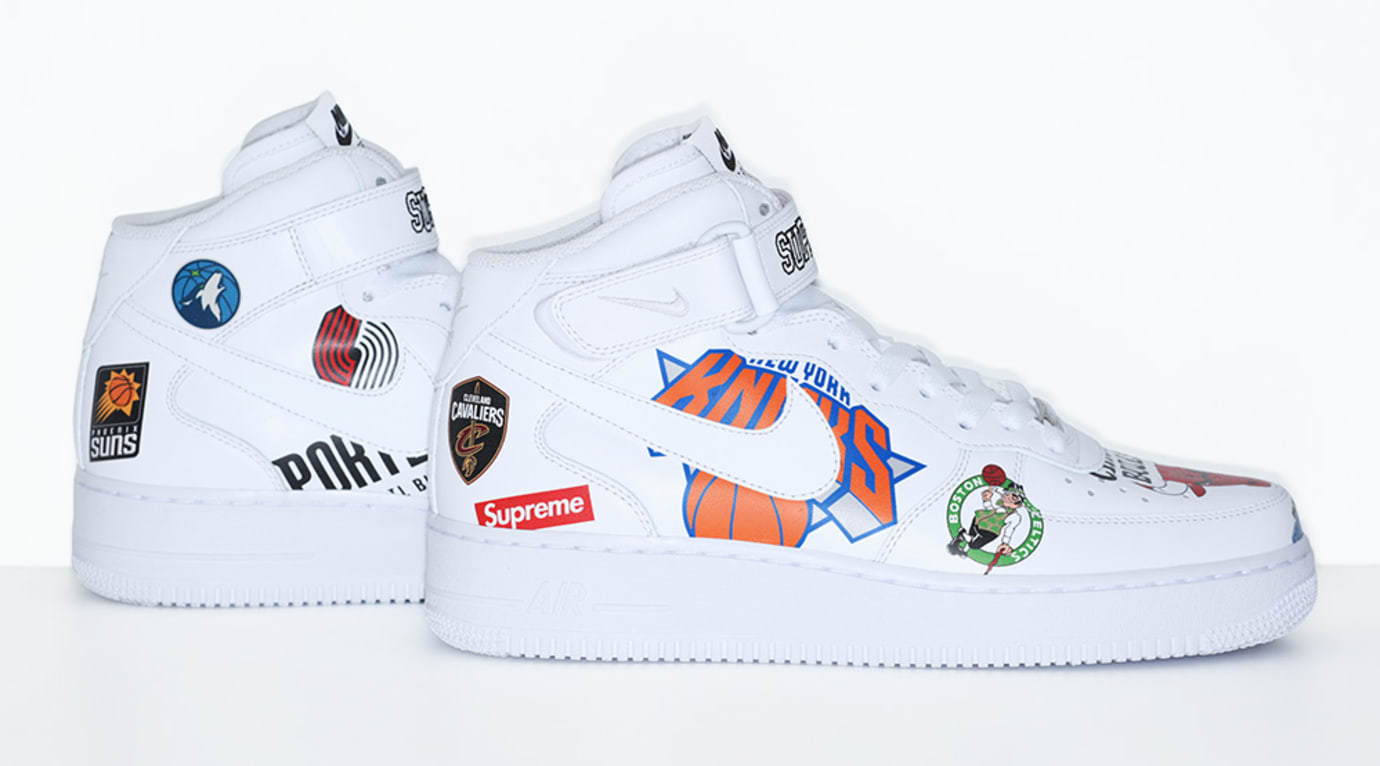 official photos 8122c 9fbfa Image via Supreme Supreme x Nike x NBA Air Force 1 Mid White AQ8017-100 (