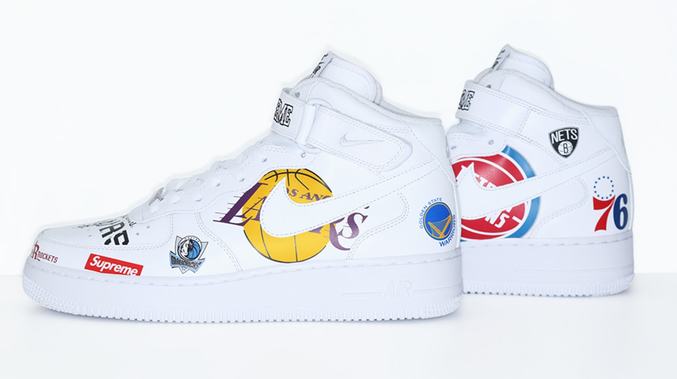 Supreme x Nike x NBA Air Force 1 Mid 'White' AQ8017-100 (Side)