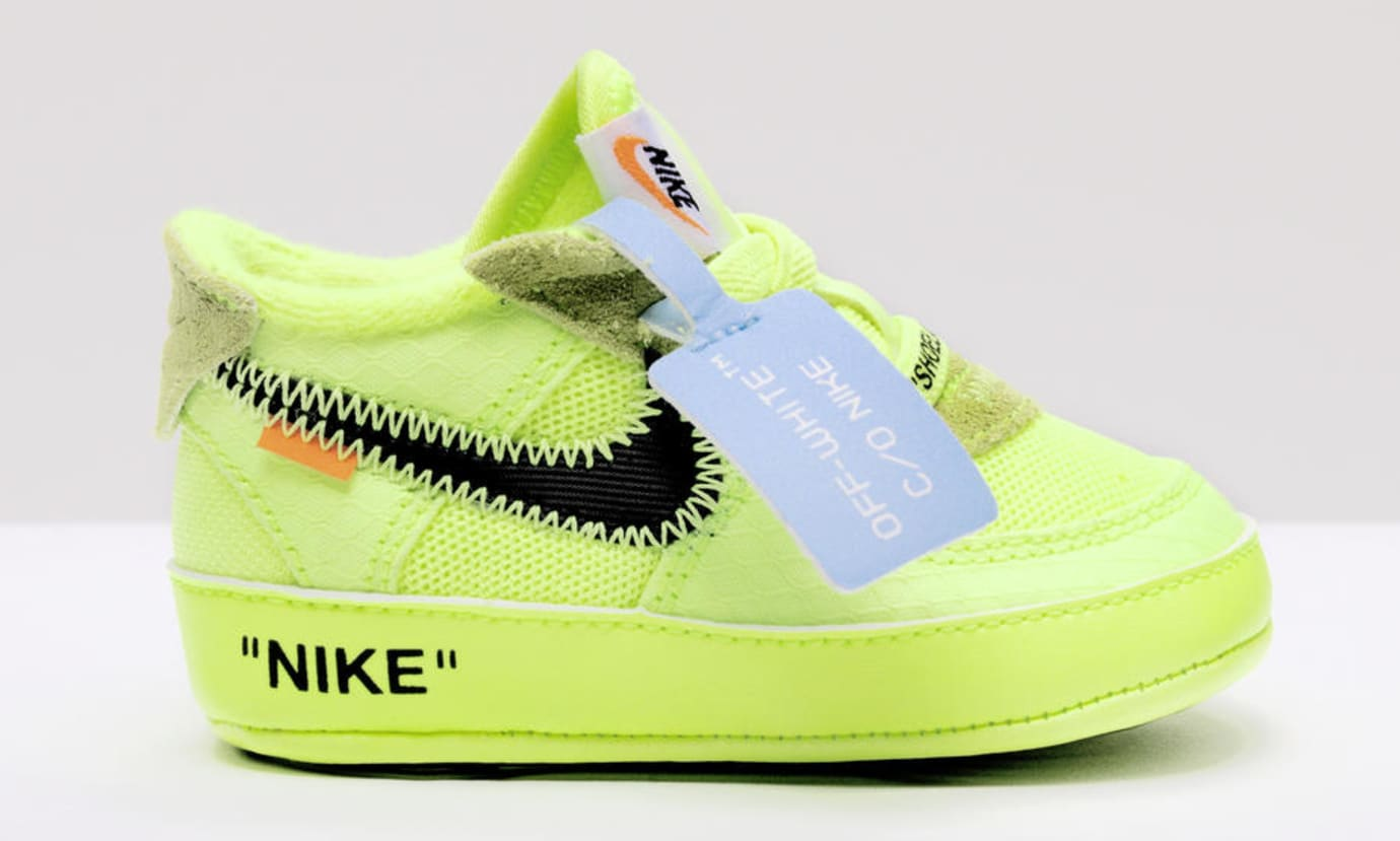 Virgil Abloh x Nike Air Force 1 'The 10' 'Volt/Cone/Hyper Jade' Toddler (Lateral)