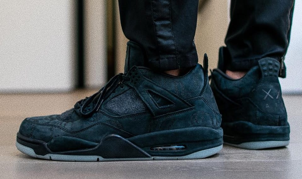 Black Kaws Air Jordan 4 Friends Family