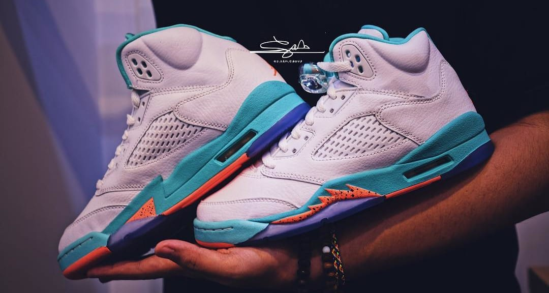 d7dd667e5f4 Air Jordan 5 GS Teal/Orange 'Miami' (Lateral/Medial)