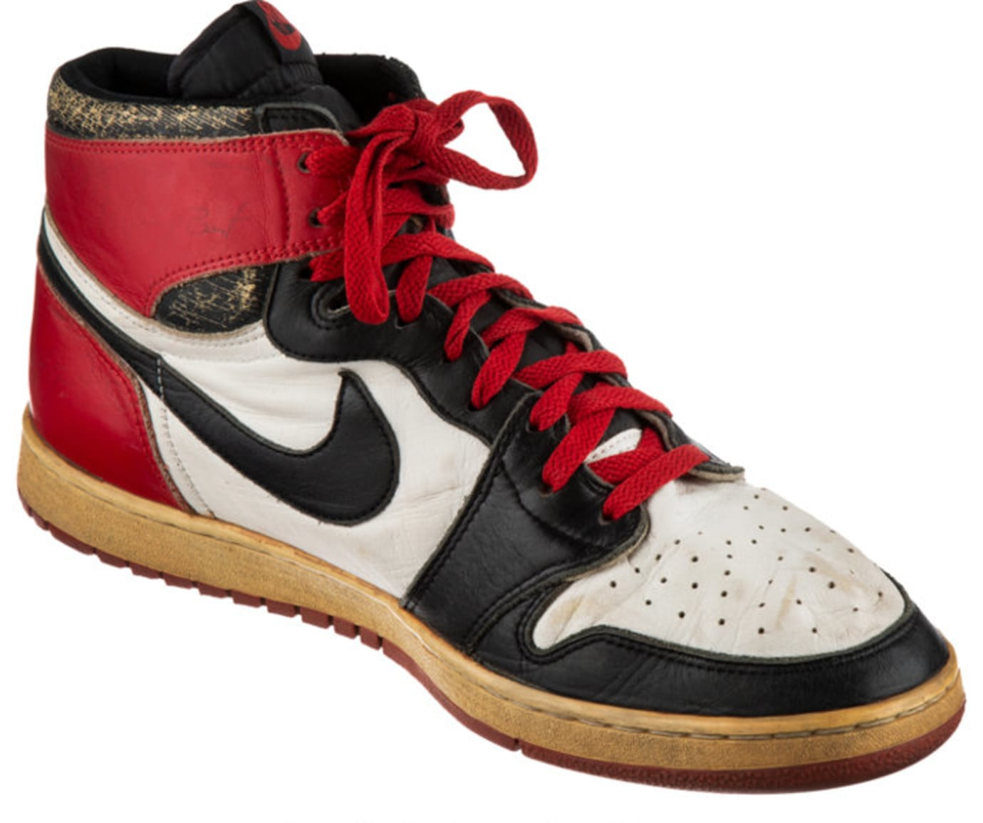 Game Worn, Autographed 1984-1985 Air Jordan 1 'Black Toe' 1