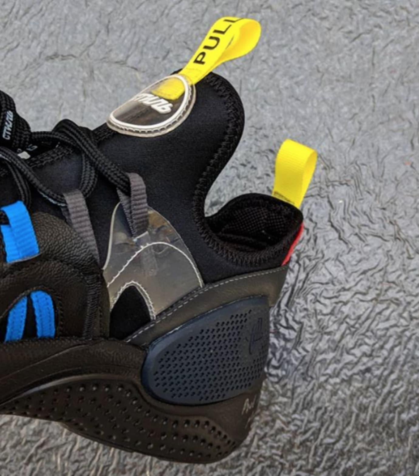 Heron Preston x Nike Huarache EDGE 'Black' (Medial Detail)