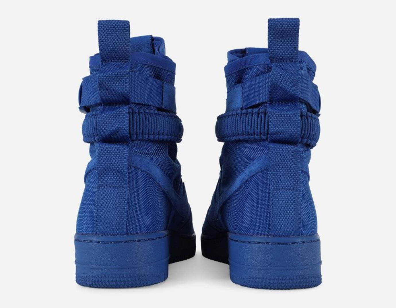 Nike SF Air Force 1 Blue Suede Release Date 864024-401 Heel