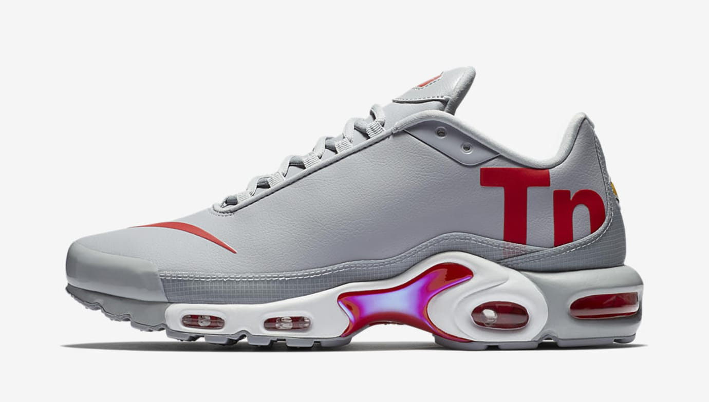 factory authentic ba5d7 f44c8 ... where can i buy nike air max plus leather big logo grey red lateral  1da3d 323f2