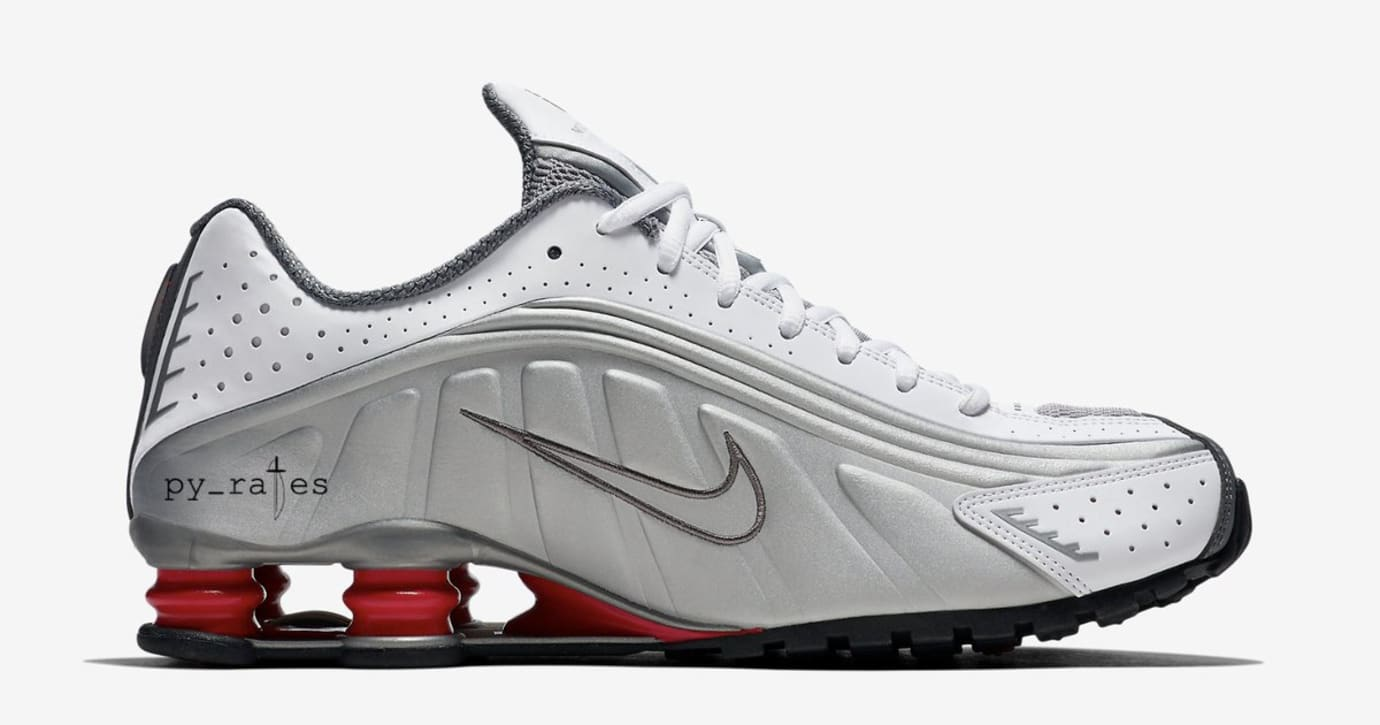 Nike Shox R4 'White/Comet Red/Black/Metallic Silver' (Medial)