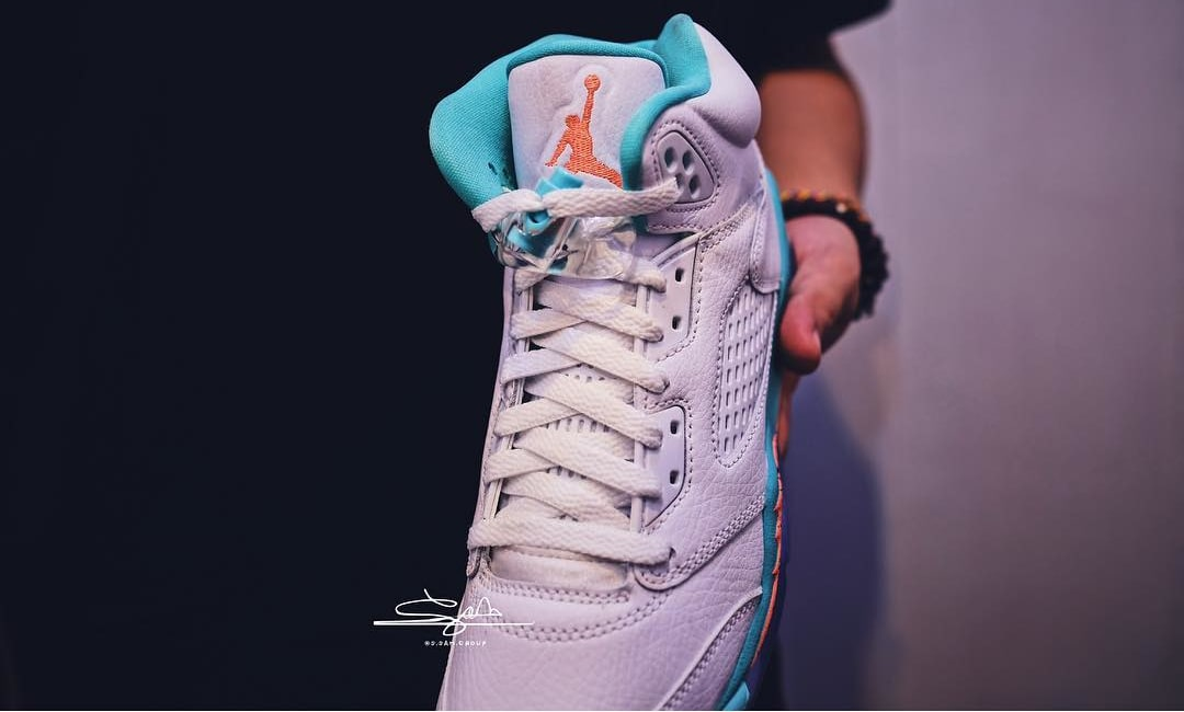 the best attitude 36b4a e3c5b ... Air Jordan 5 GS Teal Orange  Miami  (Tongue)