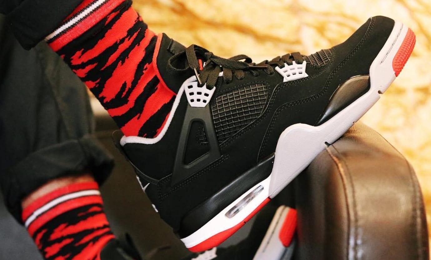 Air Jordan 4 Retro  Black Cement Grey Summit White Fire Red  308497 ... e3c5d8d97