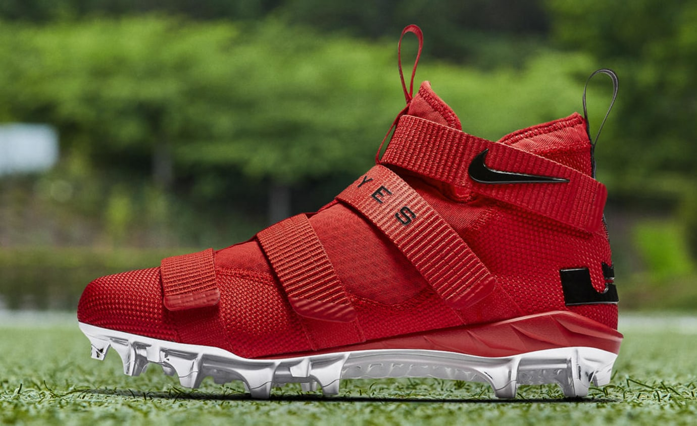 Nike LeBron Soldier 11 Cleats Ohio State Red Release Date AO9146-600 Profile