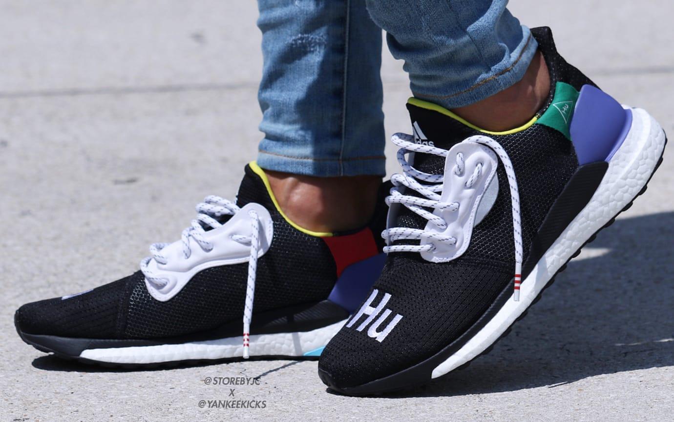 eb59b703e Pharrell Williams x Adidas Solar Glide Hu ST White and Black On-Foot ...