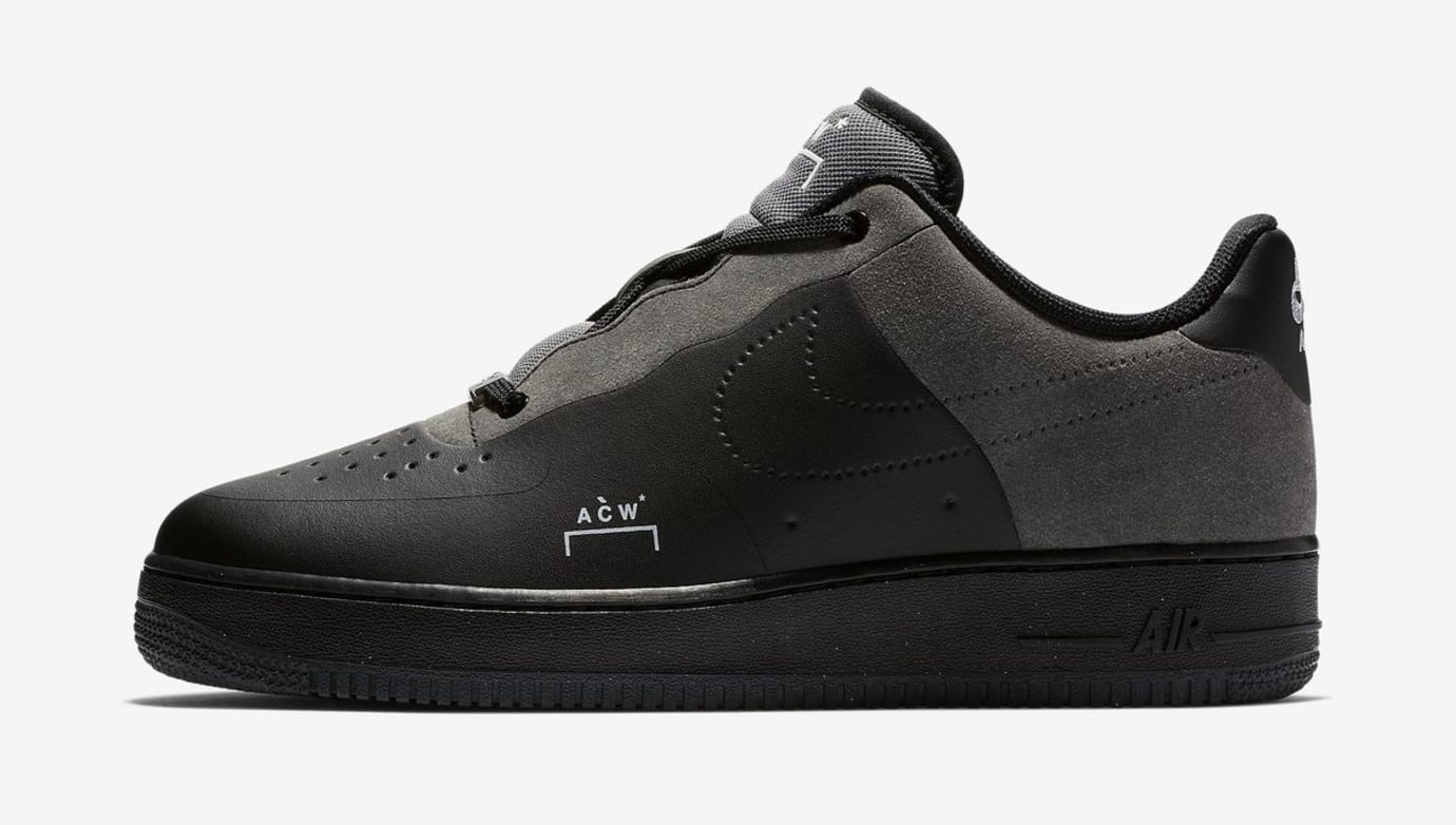 A-Cold-Wall* x Nike Air Force 1 Black/Dark Grey/White (Lateral)