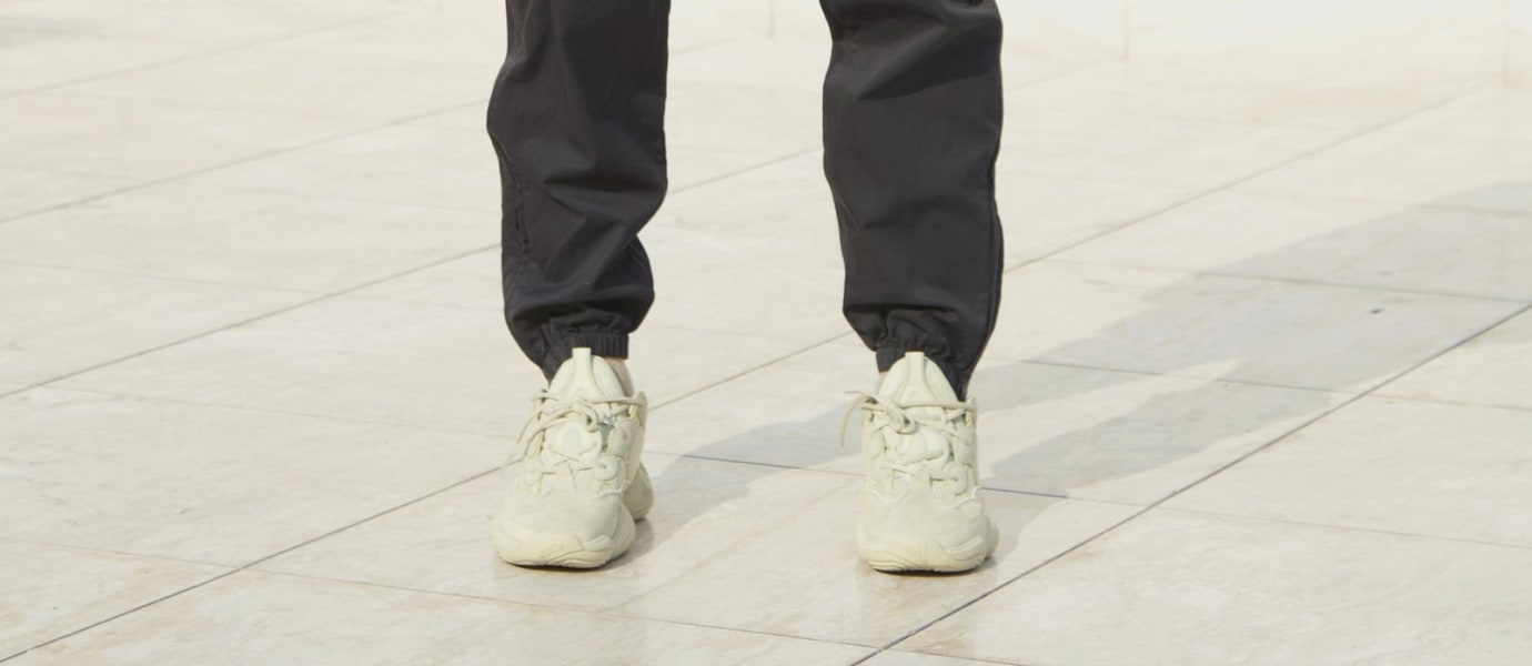 786049778 Image via Yeezy Supply Adidas Yeezy 500  Super Moon Yellow  (On-Foot Front)
