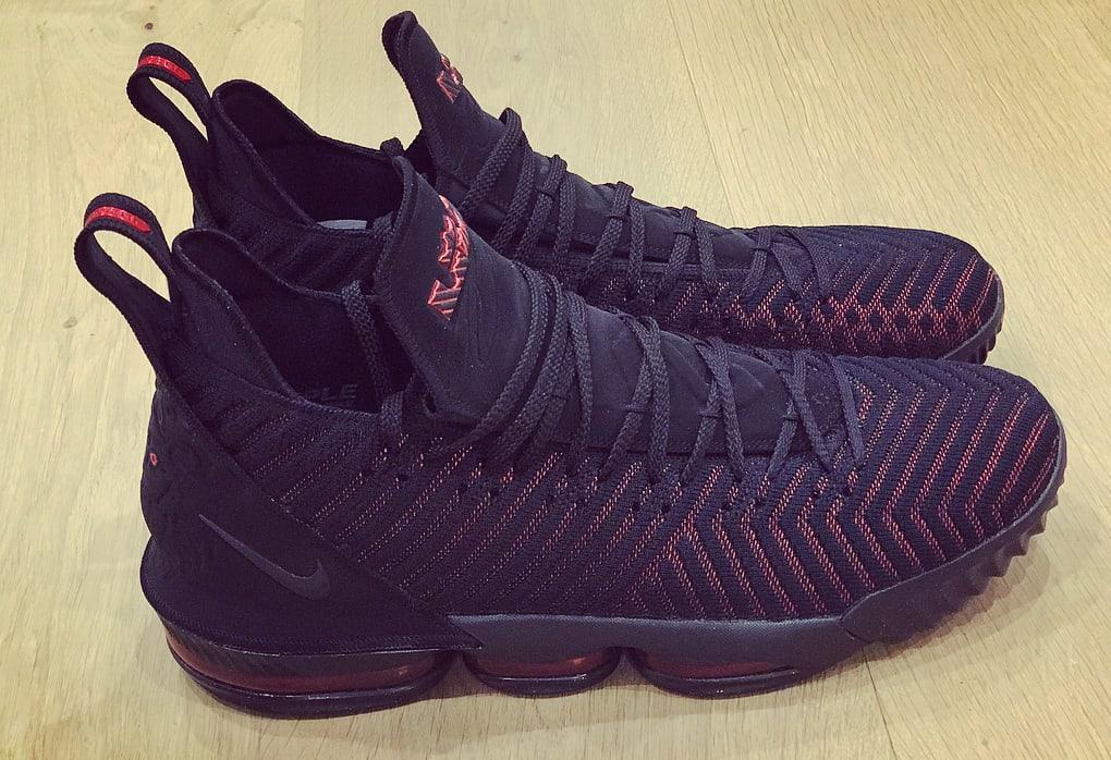 Nike LeBron 16 'Black/University Red' AO2588-002 (Medial)