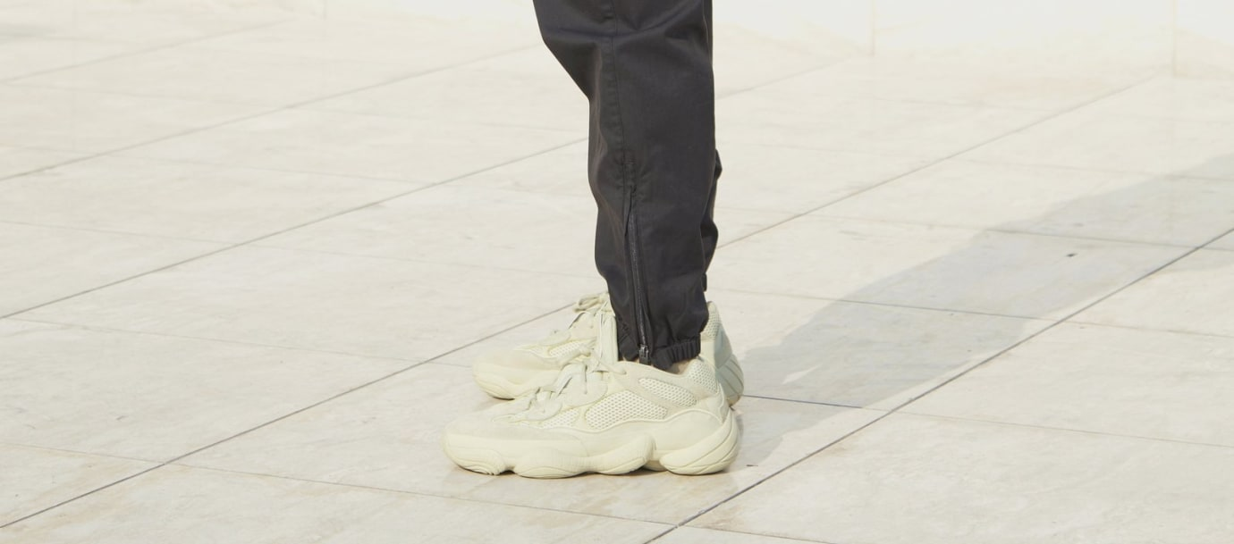 bcfa3bc91e09c Image via Yeezy Supply Adidas Yeezy 500  Super Moon Yellow  (On-Foot Left)