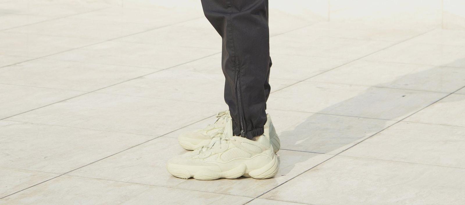 Adidas Yeezy 500 'Super Moon Yellow' (On-Foot Left)