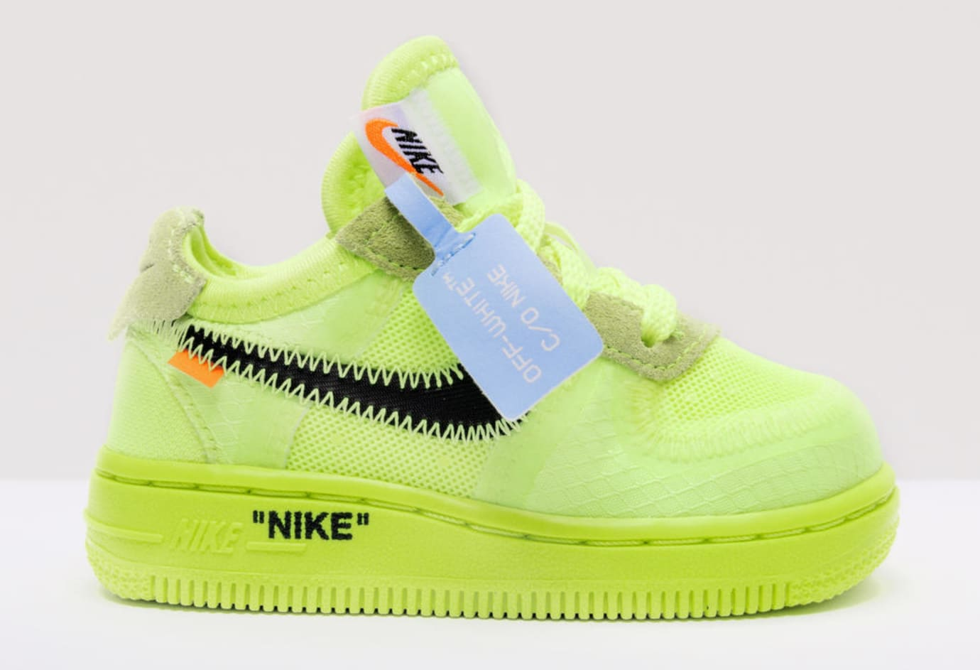 Virgil Abloh x Nike Air Force 1 'The 10' 'Volt/Cone/Hyper Jade' Kids (Lateral)
