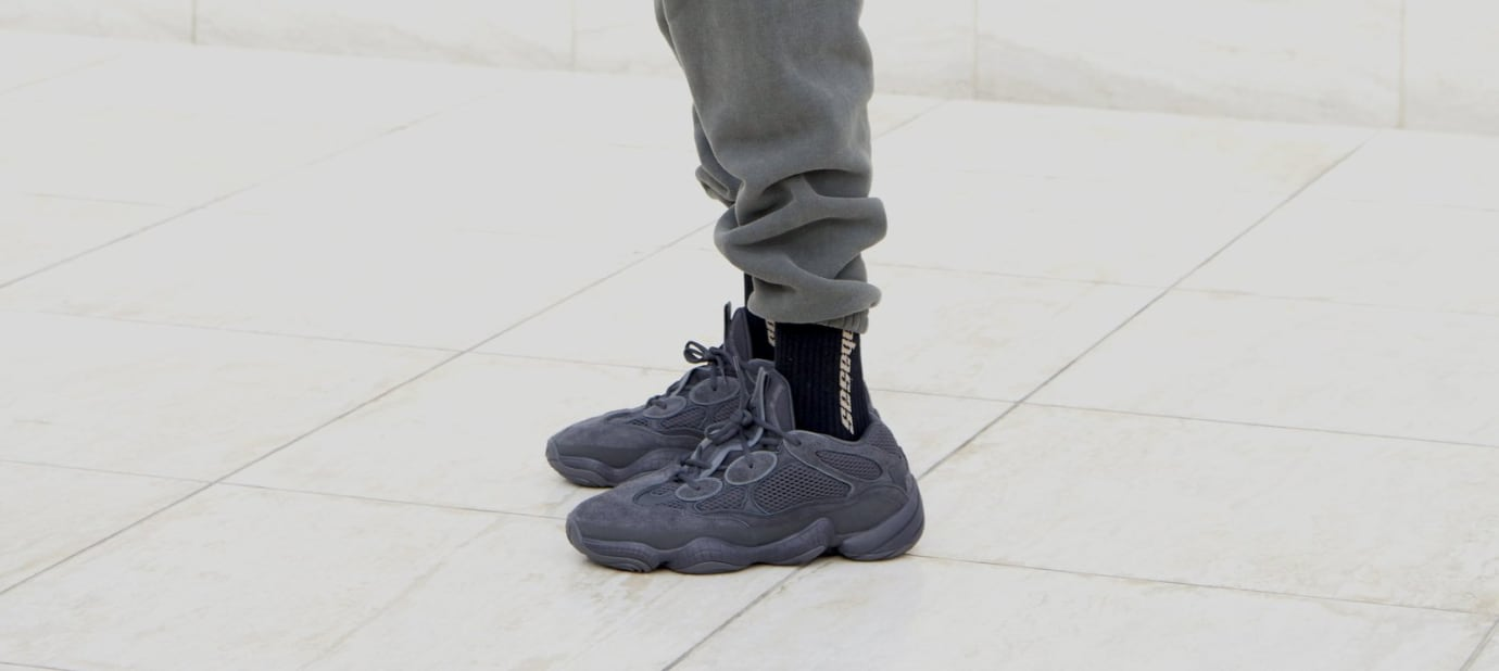 Adidas Yeezy 500 'Black' (On-Foot Left)