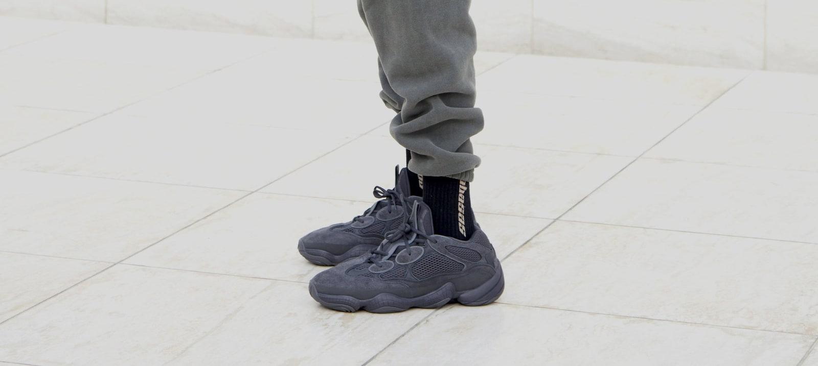 Adidas Yeezy 500 'Black' (On-Foot Left)