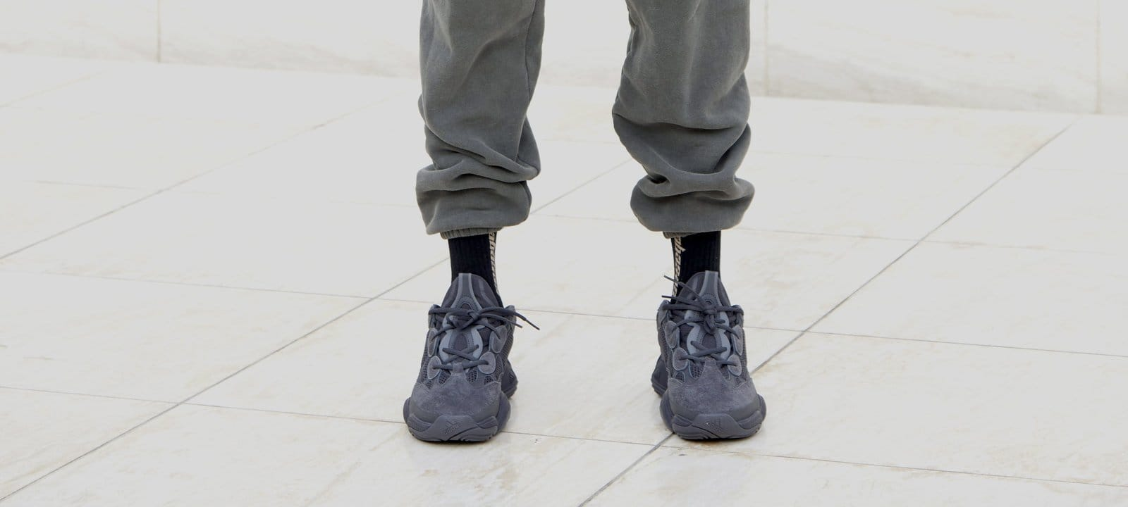 Adidas Yeezy 500 'Black' (On-Foot Front)
