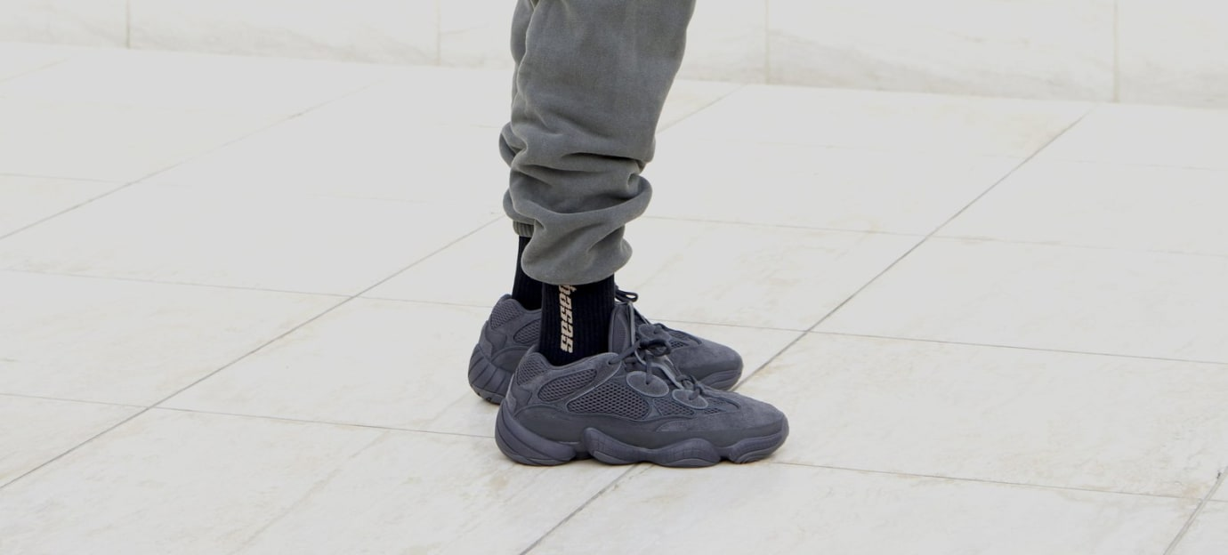 3873249cd Image via Adidas Adidas Yeezy 500  Black  (On-Foot Right)