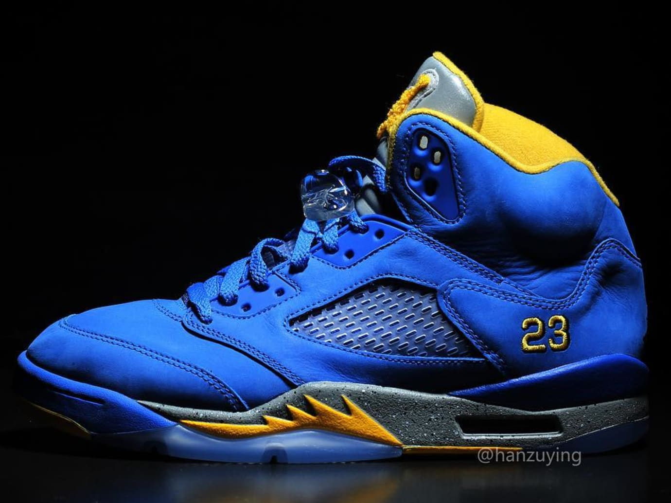 blue and yellow jordan 5
