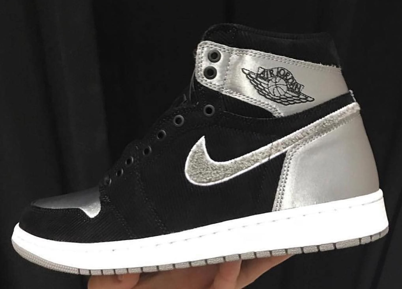 Aleali May x Air Jordan 1 Black/Silver Satin Release Date