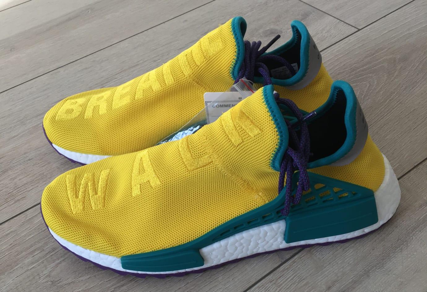 Pharrell x Adidas NMD Hu Breathe Walk Yellow Green Purple Front